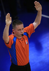 Referee Damir Javor ? during second final match of UPC Telemach league and Slovenian  National Championship  between KK Helios Domzale, Domzale and Union Olimpija, Ljubljana, Slovenia, on May 31, 2008, in Komunalni center hall in Domzale. Match was won by Helios Domzale 93:88. (Photo by Vid Ponikvar / Sportal Images)