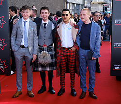 Edinburgh International Film Festival 2019<br /> <br /> Boyz In The Wood (European Premiere)<br /> <br /> Stars and guests arrive on the red carpet<br /> <br /> Pictured: (l to r) Samuel Bottomley, Rian Gordon, Viraj Juneja and Lewis Gribben<br /> <br /> Alex Todd   Edinburgh Elite media