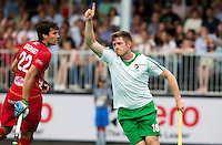 ANTWERP -    Shane O'Donoghue has scored during  the hockeymatch   Belgium vs Ireland . left Simon Gougnard of Belgium .   WSP COPYRIGHT KOEN SUYK