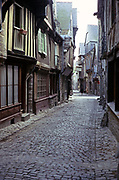Cobbled streets and historic old buildings, Quimper, Brittany, France in 1974