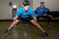KELOWNA, CANADA - DECEMBER 2: Tomas Soustal #15 of Kelowna Rockets stretches during off ice warm up against the Kootenay Ice on December 2, 2015 at Prospera Place in Kelowna, British Columbia, Canada.  (Photo by Marissa Baecker/Shoot the Breeze)  *** Local Caption *** Tomas Soustal;