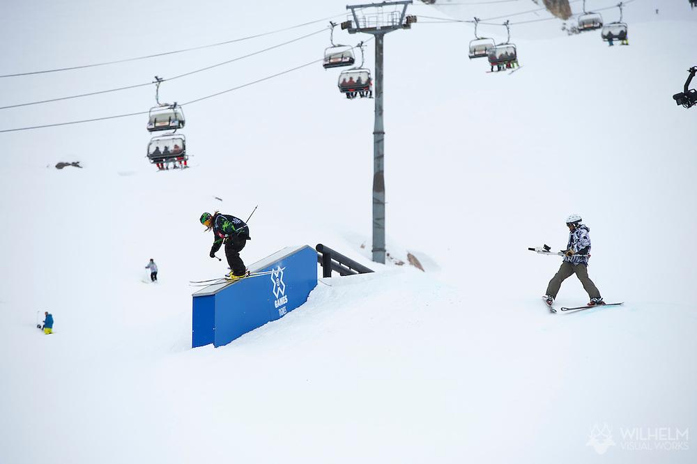 Henrik Harlaut during Men's Ski Slopestyle Eliminations at the 2013 X Games Tignes in Tignes, France. ©Brett Wilhelm/ESPN