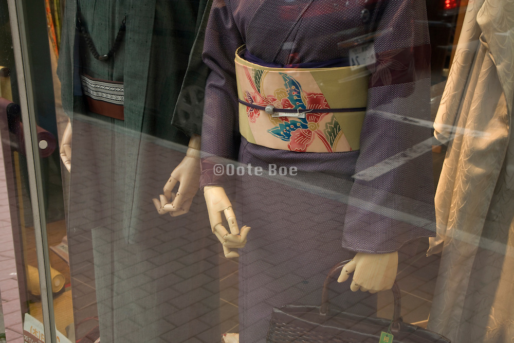 window display with traditional Kimono clothing Japan Tokyo