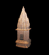 Sandstone miniature Hindu temple possibly from Benares, north India.  Late 18th or 19th century AD.  This miniature temple is composed of three sections.  It is typical of the later north Indian or Negara style of Indian temple architecture.