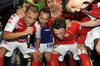 FOOTBALL - FRENCH CHAMPIONSHIP 2011/2012 - STADE DE REIMS v AS MONACO   - 07/05/2015 - PHOTO JEAN MARIE HERVIO / REGAMEDIA / DPPI - CELEBRATION REIMS PLAYERS AFTER THE VICTORY AND ACCESS TO LIGUE 1 FOR THE NEXT SEASON
