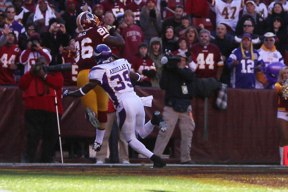 Landover, Md., Nov. 28, 2010 - Redskins vs. Vikings - Fred Davis #86 touchdown in the 1st quarter.  (Photo by Jay Westcott/TBD)