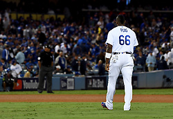 November 1, 2017 - Los Angeles, CA, USA - Los Angeles Dodgers' Yasiel Puig (66) walks back to his position after grounding out in the 7th inning of game seven of a World Series baseball game at Dodger Stadium on Wednesday Nov. 1, 2017 in Los Angeles. (Credit Image: © Keith Birmingham/Los Angeles Daily News via ZUMA Wire)