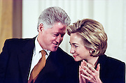 US President Bill Clinton and First Lady Hillary Clinton during a White House event February 17, 1999 in Washington, DC.