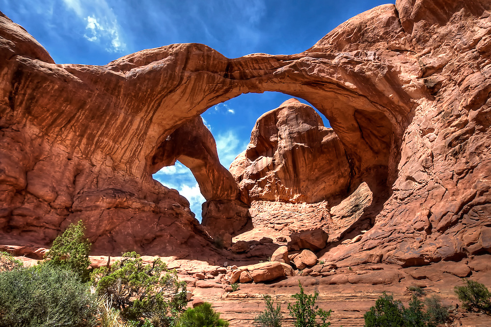 A pair of close-set natural arches, Double Arch is a popular feature of Arches National Park in Utah. The area was used as a backdrop for the opening scene of Indiana Jones and the Last Crusade, in which the arches are briefly visible.