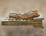 """Sleeping Hermaphroditus.  A Life size ancient 2nd century AD Roman statue sculpted in Greek Marble and found in the grounds of Santa Maria della Vittoria, near the Baths of Diocletian, Rome. It was added to the Borghese Collection by Cardinal Scipione Borghese, in the 17th century and was named the """"Borghese Hermaphroditus"""". It was later sold to the occupying French and was removed it to The Louvre. Hermaphrodite, son of Hermes and Aphrodite had repels the advances of the nymph Salmacis. However, she got Zeus as their two bodies are united in a bisexual being. The Sleeping Hermaphroditus has been described as a good early Imperial Roman copy of a bronze original by the later of the two Hellenistic sculptors named Polycles (150 BC) the original bronze was mentioned in Pliny's Natural History. In 1619  Bernini sculpted the mattress on which the ancient marble of Hermaphrodite lies. Louvre Museum, Paris .<br /> <br /> If you prefer to buy from our ALAMY STOCK LIBRARY page at https://www.alamy.com/portfolio/paul-williams-funkystock/greco-roman-sculptures.html- Type -    Louvre    - into LOWER SEARCH WITHIN GALLERY box - Refine search by adding a subject, place, background colour,etc.<br /> <br /> Visit our CLASSICAL WORLD HISTORIC SITES PHOTO COLLECTIONS for more photos to download or buy as wall art prints https://funkystock.photoshelter.com/gallery-collection/The-Romans-Art-Artefacts-Antiquities-Historic-Sites-Pictures-Images/C0000r2uLJJo9_s0c"""