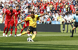 June 23, 2018 - Moscou, Russie - Moscow, Russia - June 23 : Eden Hazard midfielder of Belgium during the FIFA 2018 World Cup Russia group G phase match between Belgium and Tunisia at the Spartak Stadium on June 23, 2018 in Moscow, Russia 23/06/2018  (Credit Image: © Panoramic via ZUMA Press)