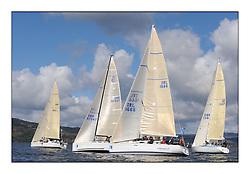 The Brewin Dolphin Scottish Series, Tarbert Loch Fyne..Class three fleet with, IRL1666 Carmen II  .Helensburgh SC First 36.7 Jeffrey/Scutt..