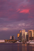 Downtown Vancouver and Coal Harbour at sunset, Vancouver, British Columbia, Canada.