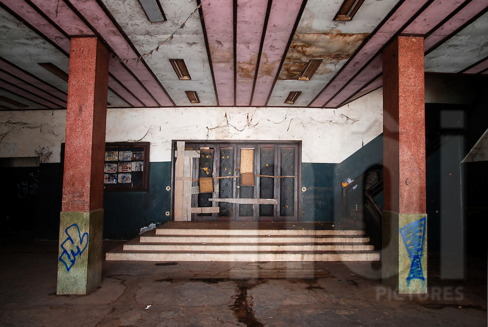 Entry hall in the abandoned cinema of Bouasavanh, Vientiane, Laos, Asia