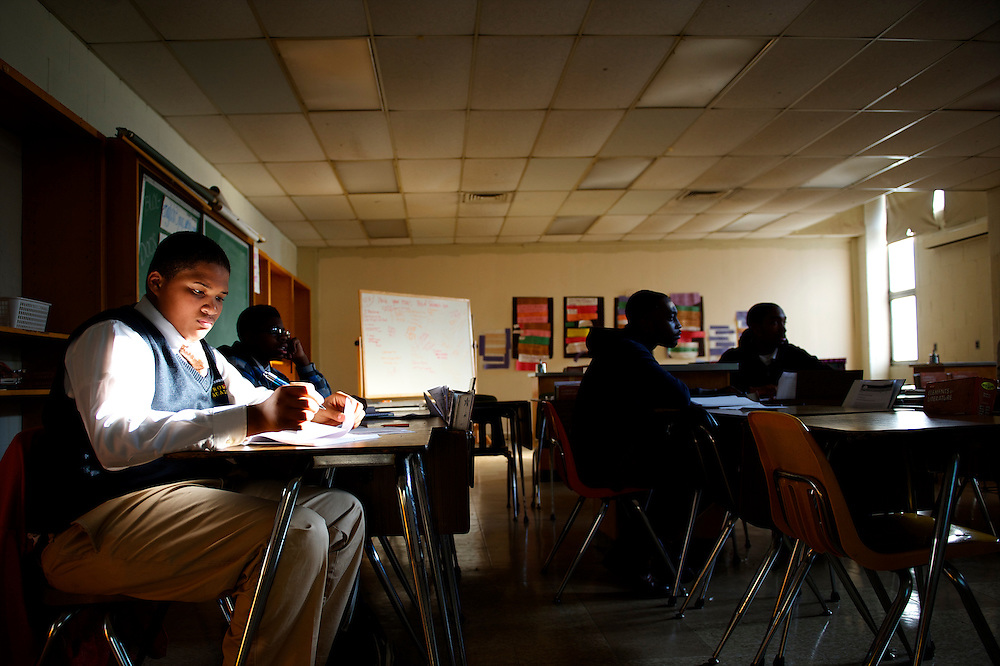 Students attend Mrs. Nelson's class at University City High School in Philadelphia on December 19, 2012.  Philadelphia School District proposed a new plan to close 37 schools and move thousands of students into other schools thus saving 27 million dollars.