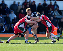 Bristol Hooker (#2) Rhys Lawrence gets tackled by Plymouth Albion Prop (#3) Lloyd Fairbrother - Photo mandatory by-line: Dougie Allward/JMP - Tel: Mobile: 07966 386802 31/03/2013 - SPORT - RUGBY - Memorial Stadium - Bristol. Bristol v Plymouth Albion - RFU Championship.