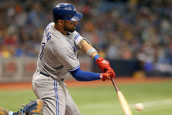 May 6, 2018 - St. Petersburg, FL, U.S. - ST. PETERSBURG, FL - MAY 06: Kevin Pillar (11) of the Blue Jays hits a line drive during the MLB regular season game between the Toronto Blue Jays and the Tampa Bay Rays on May 06, 2018, at Tropicana Field in St. Petersburg, FL. (Photo by Cliff Welch/Icon Sportswire) (Credit Image: © Cliff Welch/Icon SMI via ZUMA Press)