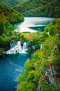 Lake Kozjak and travertine cascades on the Korana River, Plitvice Lakes National Park, Croatia