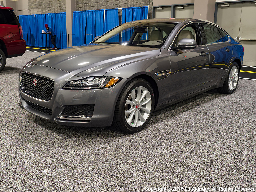 CHARLOTTE, NC, USA - NOVEMBER 17, 2016: Jaguar XF 20d on display during the 2016 Charlotte International Auto Show at the Charlotte Convention Center in downtown Charlotte.