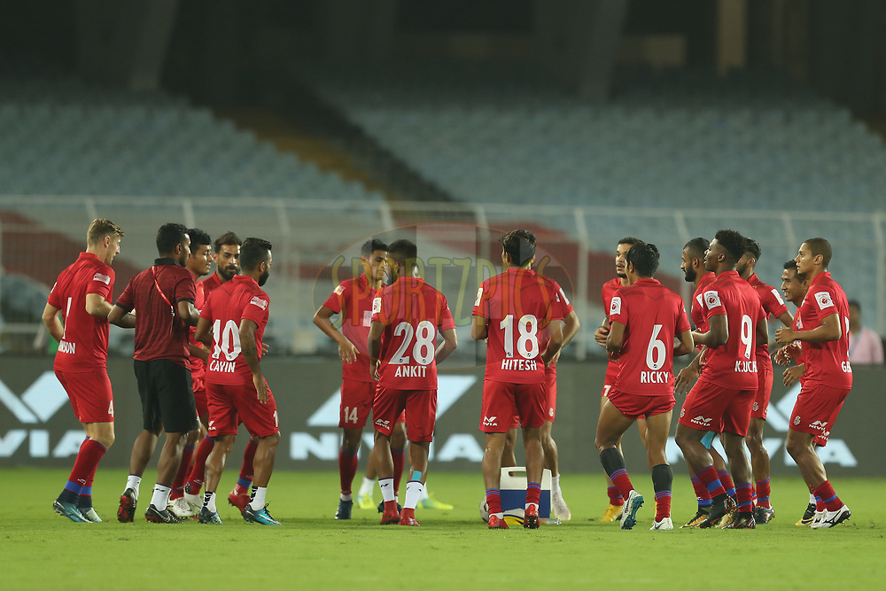 ATK players warm up during match 6 of the Hero Indian Super League 2018 ( ISL ) between ATK and Northeast United FC held at the Yuba Bharati Krirangan stadium (Salt Lake Stadium) in Salt Lake Kolkata, India on the 4th October<br /> <br /> Photo by Ron Gaunt / Sportzpics for ISL