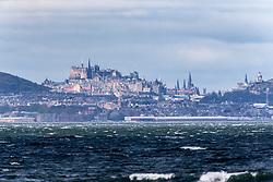 Edinburgh Castle and skyline as seen from the beach at Longniddry.