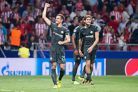 Chelsea's Cesar Azpilicueta and Marcos Alonso celebrating the victory during UEFA Champions League match between Atletico de Madrid and Chelsea at Wanda Metropolitano in Madrid, Spain September 27, 2017. (ALTERPHOTOS/Borja B.Hojas)