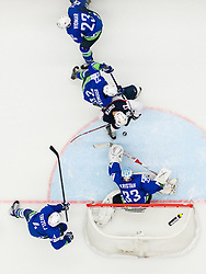 Ben Smith of USA vs Marcel Rodman of Slovenia and Robert Kristan of Slovenia during Ice Hockey match between Slovenia and USA at Day 10 in Group B of 2015 IIHF World Championship, on May 10, 2015 in CEZ Arena, Ostrava, Czech Republic. Photo by Vid Ponikvar / Sportida