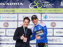 Jaka Lopatic with Mountain classification winner Rafal Majka (POL) of Bora - Hansgrohe in blue jersey at trophy ceremony after the Stage 3 of 24th Tour of Slovenia 2017 / Tour de Slovenie from Celje to Rogla (167,7 km) cycling race on June 16, 2017 in Slovenia. Photo by Vid Ponikvar / Sportida