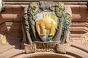 Elephant decoration Council House building opened 1917, Tudor style 20th century architecture, Coventry, England, UK