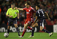 Photo: Paul Thomas.<br /> Liverpool v Bordeaux. UEFA Champions League, Group C. 31/10/2006.<br /> <br /> Bolo Zenden (32) of Liverpoo gets the ball from Menegazzo Fernando (who later was sent off).