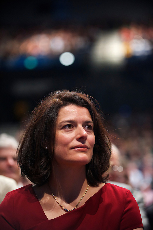 Miriam Gonza?lez Dura?ntez, Nick Clegg's wife, sits first row, listening to speeches during the Liberal Democrats Autumn Conference in Liverpool on 19 September 2010.  This was the first party conference since the government coalition with the tories.