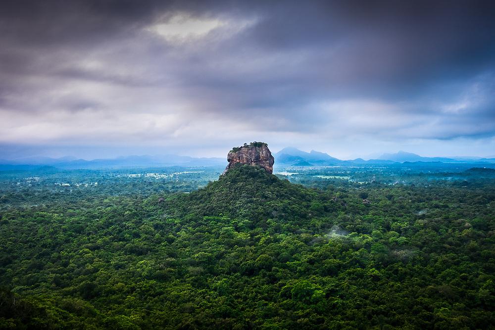 The view of Sigiriya rock fortress from the top of Pidurangala rock in Sri Lanka. Photo by Lorenz Berna