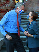 BROOKLYN, NEW YORK: NOVEMBER 6, 2020- New York City Mayor Bill De Blasio and U.S. Congress Nydia Velázquez attend the official ribbon cutting ceremony opening the new New York City Housing Authority (NYCHA) Marcy Houses Community Center on November 6, 2020 in the Bedford Stuyvesant section of Brooklyn, New York City.   Photo by Terrence Jennings/terrencejennings.com