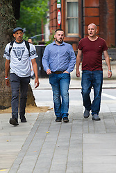 James Goddard, centre, arrives at Westminster Magistrates Court in London where he is on trial for harassment of MP Anna Soubry outside the Houses of Parliament. LONDON, July 19 2019.