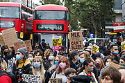 Anti-racism protesters led by black activist Sasha Johnson (not in picture) are marching towards Hyde Park from Notting Hill Underground station in London on Sunday, Aug 30, 2020. (VXP Photo/ Vudi Xhymshiti)