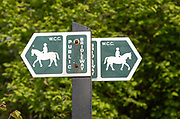 Public bridleway sign on post, Wiltshire County Council, Wiltshire, England, UK