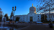 USA, Oregon, Salem, State Capitol from State Capitol State Park.