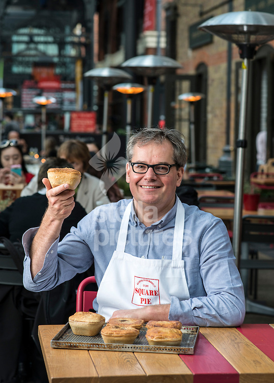 Martin Dewey, founder of Square Pie at their premises at Old Spitalfields Market, London<br /> Picture by Daniel Hambury/Stella Pictures Ltd +44 7813 022858<br /> 08/10/2015