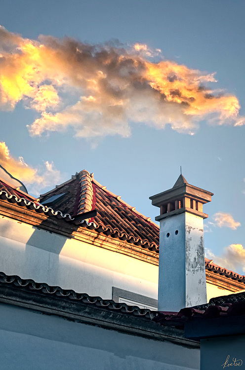 Typical Portuguese Chimney, at sunset