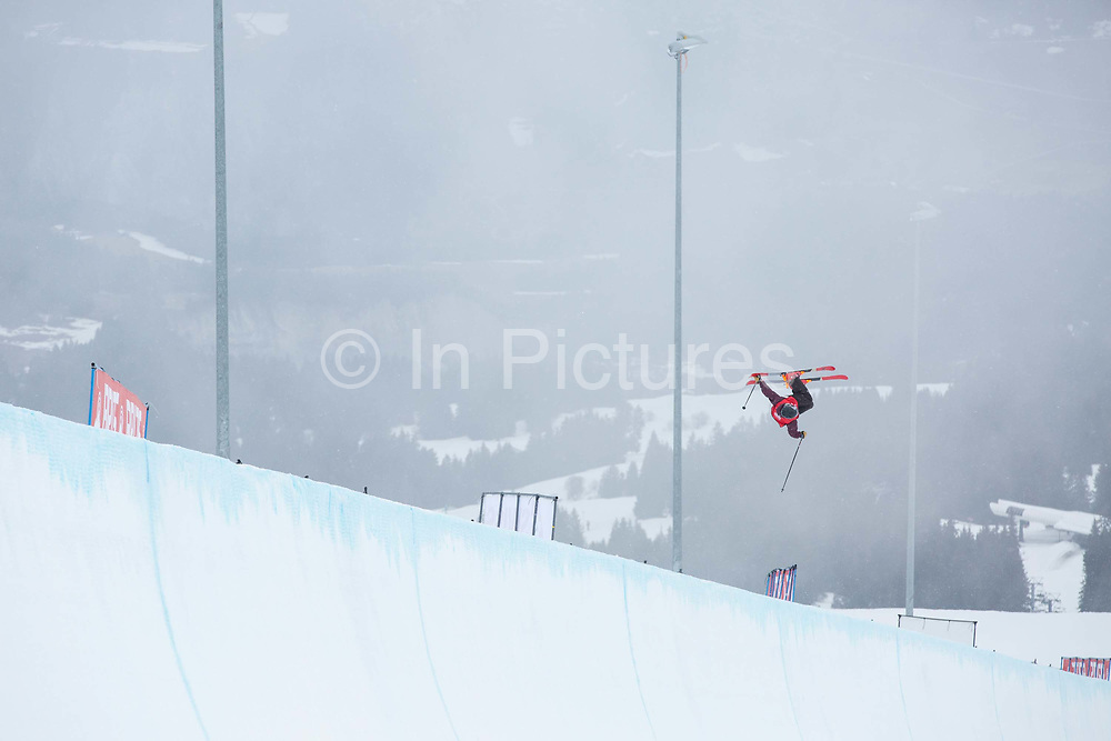 GB Park and Pipe and olympic skier, Peter Speight during the The Brits ski halfpipe final championship on the 5th April 2018 in Laax Ski Resort, Switzerland. The Brits is a national championships sanctioned by British Ski & Snowboard