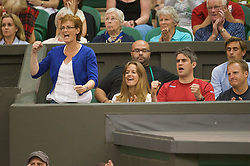 LONDON, ENGLAND - Monday, June 29, 2009: Andy Murray's mother Judith and his girlfriend Kim Sears cheer during the Gentlemen's Singles 4th Round match on day seven of the Wimbledon Lawn Tennis Championships at the All England Lawn Tennis and Croquet Club. (Pic by David Rawcliffe/Propaganda)