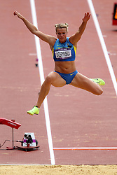 Natallia Dobrynska of Ukraine during the Long Jump event held as part of the Women's Heptathlon on day 2 of the track and field meet at the Olympic Stadium in Olympic Park in London as part of the London 2012 Olympics on the 3rd August 2012..Photo by Ron Gaunt/SPORTZPICS