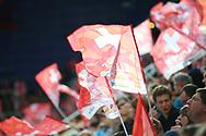Schweizer Fans im Testspiel zwischen der Schweiz und Deutschland, am Samstag, 27. April 2013, in der Diners Club Arena Rapperswil-Jona. (Thomas Oswald)