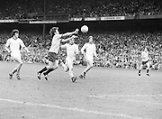 Down player attempt to catch the ball after the goalie has kicked it out minor game before the Kerry v Dublin All Ireland Senior Gaelic Football Final in Croke Park on the 24th of September 1978.