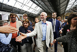 © Licensed to London News Pictures. 22/06/2016. London, UK. Labour Leader JEREMY CORBYN meets supporters after taking part at a rally for a vote to remain in the European Union on Wednesday, 22 June 2016 in King's Cross, London. Photo credit: Tolga Akmen/LNP