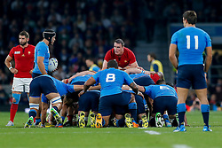 France Number 8 Louis Picamoles looks on at a scrum - Mandatory byline: Rogan Thomson/JMP - 07966 386802 - 19/09/2015 - RUGBY UNION - Twickenham Stadium - London, England - France v Italy - Rugby World Cup 2015 Pool D.