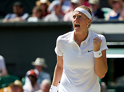 03.07.2014, All England Lawn Tennis Club, London, ENG, WTA Tour, Wimbledon, Tag 10, im Bild Petra Kvitova (CZE) celebrates a point during the Ladies' Singles Semi-Final match on day ten // during day 10 of the Wimbledon Championships at the All England Lawn Tennis Club in London, Great Britain on 2014/07/03. EXPA Pictures © 2014, PhotoCredit: EXPA/ Propagandaphoto/ David Rawcliffe<br /> <br /> *****ATTENTION - OUT of ENG, GBR*****
