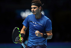 Spain's Rafael Nadal reacts during his match against Belgium's David Goffin during day two of the NITTO ATP World Tour Finals at the O2 Arena, London.