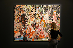 "© Licensed to London News Pictures. 27/09/2019. London, UK. A staff member view Cecily Brown's artwork titled ""The Year of the Scavenger"" Est £1,000,000 - £1,500,000 during the preview of Sotheby's Frieze Week Contemporary Art Sale. The auction will take place on 3rd October 2019.  Photo credit: Dinendra Haria/LNP"