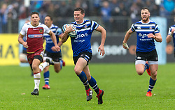 Bath's Freddie Burns runs in to score their first try during the Gallagher Premiership match at the Recreation Ground, Bath.
